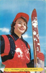 Reno Ski Bowl Winter Sports Ski Woman Rembrant Postcard Noble Nevada  20-1158