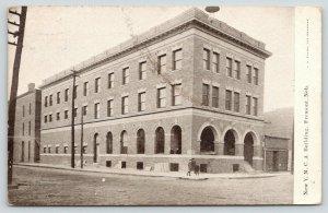 Fremont Nebraska~New YMCA Building~Kids on Corner~1910 B&W Postcard
