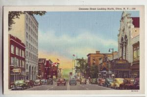 P247 JL old postcard genesee street signd old cars utica ny