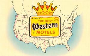 Evanston Wyoming~Dunmar Motel~1969 Best Western United States Map Postcard