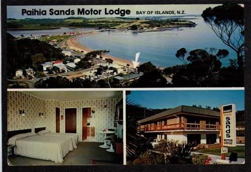 NZ Paihia Sands Motor Lodge BAY OF ISLANDS NEW ZEALAND Postcard Carte Postale