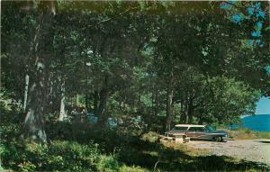 Skyline Drive Mt. Equinox Manchester Vermont Postcard 50's old car Picnic
