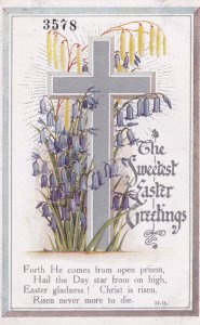 EASTER, 1900-10s; Sweetest Greetings, Silver Cross & Purple Bell Flowers, Poem