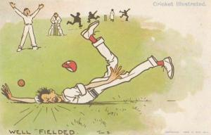 Tom Browne Cricket Well Fielded Comic Postcard