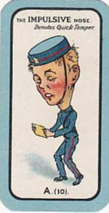 Carreras Small Vintage Cigarette Card The Nose Game No A10 The Impulsive Nose...