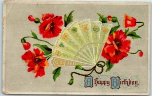Vintage BIRTHDAY Greetings Postcard Red Poppy Flowers / Fan - c1910s Germany