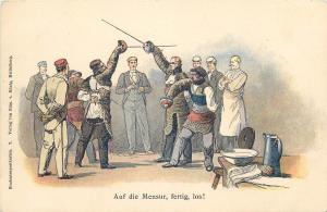 Studentika Heidelberg Fencing School Students Mensur Fence Duel Litho 1900s