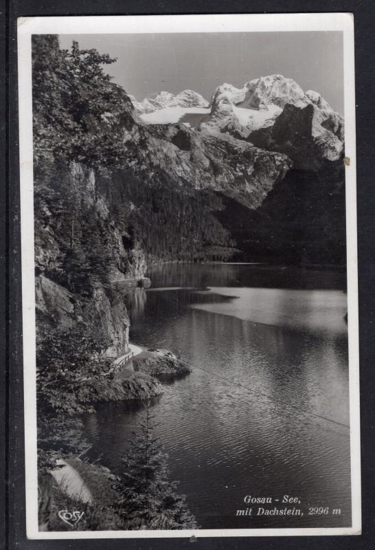 Vintage Austrian Photo Card(1951). Gosau Lake & Alps.