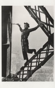 Zazou Eiffel Tower 1950s French Artist Stuntman Painter Postcard