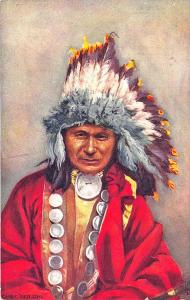 Raphael Tuck Indian Chiefs Chief Red Owl Series I Postcard