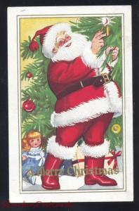 A MERRY CHRISTMAS LARGE SANTA CLAUS RED ROBE TREE VINTAGE ANTIQUE POSTCARD