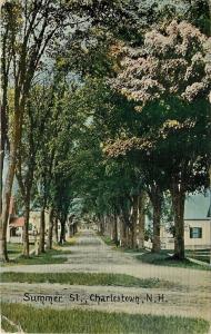 Charlestown New Hampshire~Summer Street Homes~Narrow Dirt Road Thru Trees~1912