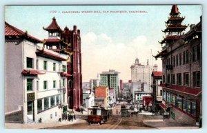 SAN FRANCISCO, CA  ~ CALIFORNIA STREET HILL c1910s Cable Car  Postcard