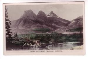 Tinted Real Photo, Three Sisters at Canmore, Alberta, Gowen Sutton Co