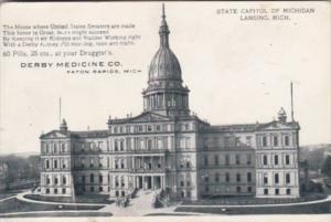 Advertising Derby Medicine Company Eaton Rapids Michigan Showing State Capito...