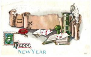New Year    Cards, Quill pen, Horseshoes,