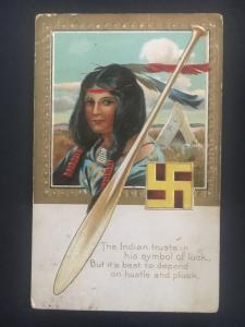 Cowanda NY USA Postcard Native American Indian Woman with Swastika Cover