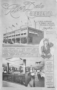 C-1910 Seattle Washington Allen Dale Cafeteria postcard 5758