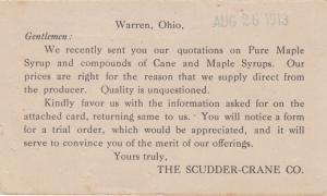 WARREN , Ohio , 1913 , Scudder-Crane Syrup Co. Ad