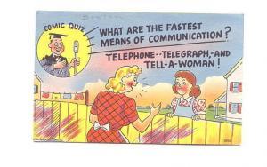 Signed Cartoon, Comic Quiz, Man Behind Microphone, Telephone Telegraph Women