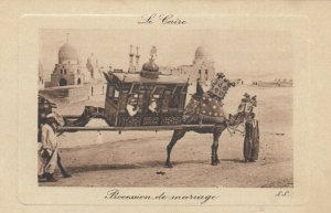 CAIRO, Egypt, 1900-10s; Procession de mariage, Camel drawn Carriage