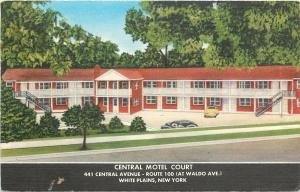 White Plains New York~Central Motel Motor Court~1940s Linen Postcard