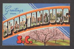 SC SPARTANBURG South Carolina Large Letter Lg Postcard Linen PC Carte Postale