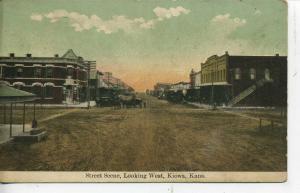 KIOWA KANSAS DOWNTOWN STREET SCENE VINTAGE POSTCARD STORES