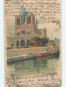 1904 foreign signed BOAT BESIDE NOTRE DAME IN PARIS FRANCE HL8270