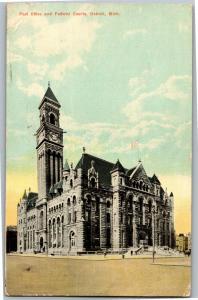 Post Office and Federal Courts, Detroit MI c1911 Vintage Postcard P05
