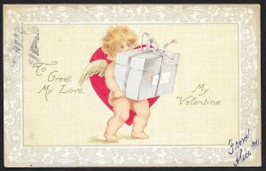 To Greet My Love My Valentine Cupid With Package Used c1908