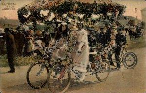 Los Angeles CA Fiesta Parade BICYCLES c1910 Postcard