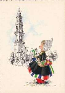 Dutch Girl With Basket Of Tulips Signed Frankie