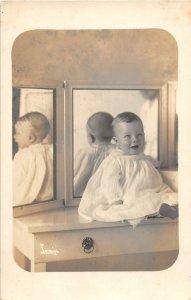 F79/ Interesting RPPC Postcard c1910 Trick Photography Mirror Baby 27