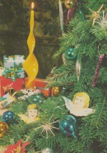 Poland Polish Angel Wings Wing Faces In Christmas Tree Happy Christmas Postcard