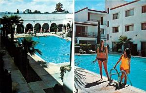 Tuscon Arizona~Aztec Inn Swimming Pool~Bathing Beauties~1960s Postcard