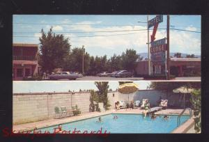 ALBUQUERQUE NEW MEXICO ROUTE 66 MOTEL SWIMMING POOL ADVERTISING POSTCARD