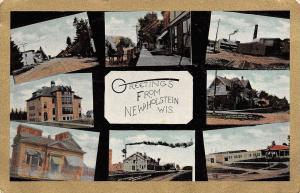 New Holstein Wisconsin~Mini Views~Main Street~Canning Co~Depot~Gold Border~1910