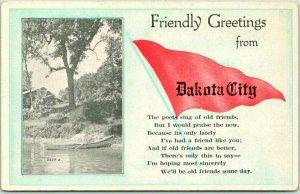 DAKOTA CITY, Nebraska Pennant Greetings Postcard w/ Boat Scene c1920s Unused
