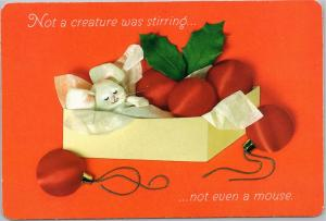 postcard Christmas postcard toy mouse in box of ornaments Hallmark 151-3