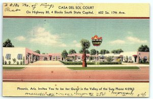 VTG Linen c1951 Casa Del Sol Court Advertising Phoenix AZ Arizona Motel Hotel A3