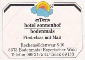 GERMANY BODENMAIS ATLAS HOTEL SONNENHOF VINTAGE LUGGAGE LABEL
