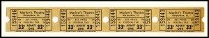 Four .33 Cents Marlow's Movie Theatre Tickets, Murphysboro, Illinois/IL,...