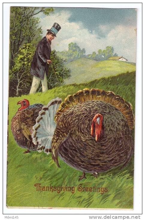 Vintage Thanksgiving Embossed Postcard Turkey and Elegant Man with Top Hat 1908
