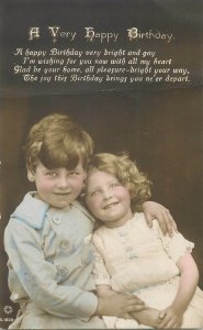 Lovely children couple a very happy birthday greetings postcard