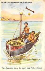 Old Vintage Lawn Bowling Postcard Post Card Les dix commandements de la petan...