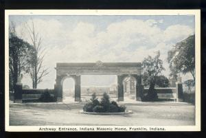 Franklin, Indiana/IN Postcard, Archway Entrance, Indiana Masonic Home