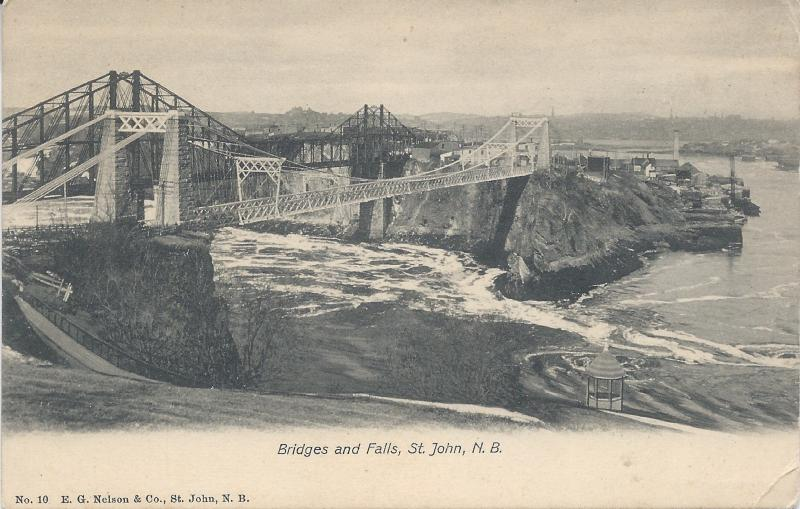 Bridges and Falls, St. John, New Brunswick, Canada, early postcard, unused