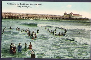 California LONG BEACH Bathing in the Pacific and Pleasure Pier DB
