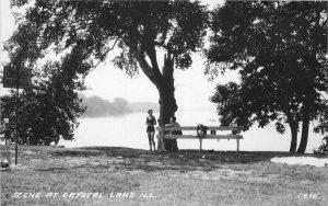 Crystal Lake Illinois Scene Waterfront 1940s RPPC Photo Postcard 21-10746